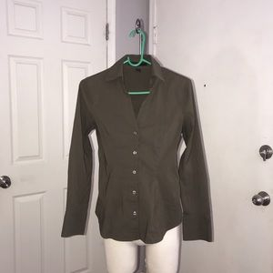 Express Olive Green Slim Fit Long sleeve Shirt XS
